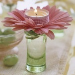Tealight Candle with Flower on top shot glass
