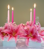 Pink Taper Candles Centerpiece